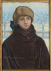Portret Kazimiery Nehring w zimowym pejzażu