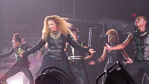 """Feedback (song) - Jackson and her dancers performing """"Feedback"""" during her Unbreakable Tour (2015-16)."""