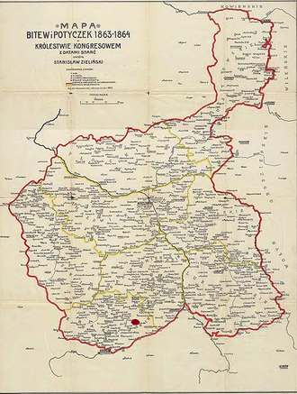 Battle of Grochowiska - Battles of the January Uprising in Congress Poland, 1863–1864. Grochwiska is located in the south.