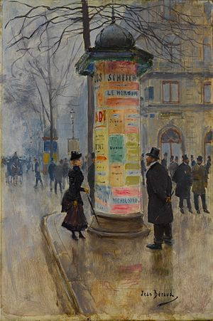 Eye movement in scene viewing - A Parisian street scene painted by Jean Béraud.  A fashionable beauty reads the posters on the kiosk while two gentlemen surreptitiously ogle her.