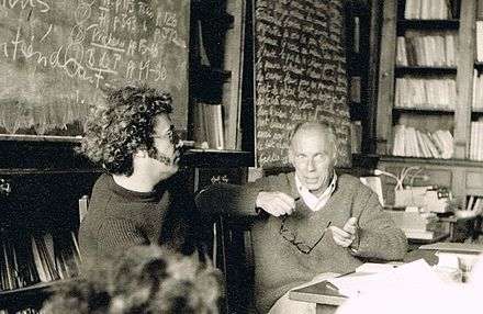 Seminar with Claude Simon, Cerisy (France). Nobel Prize 1985. Jean Ricardou and Claude Simon (Cerisy, France) - Philippe Binant Archives.jpg