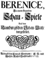 Johann Mattheson and Georg Bronner - Berenice - titlepage of the libretto - Hamburg 1702.png