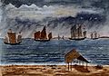 John Edmund Taylor, Chinese Junks in a Squall. Singapore. (1879, Wellcome V0037495).jpg