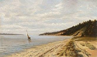 Toms River - Navegación al atardecer, John Frederick Peto, c.1890. Toms River, lugar de residencia del pintor.
