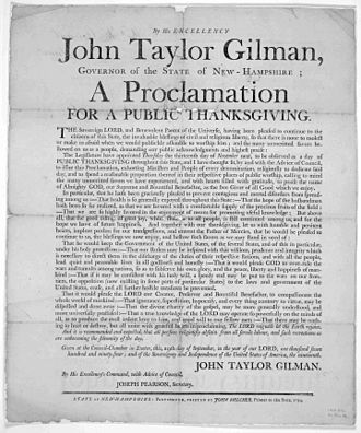 John Taylor Gilman - Broadside proclamation from Governor Gilman, Exeter, 1794