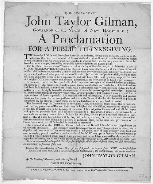 John Taylor Gilman Thanksgiving Proclamation New Hampshire, 1794