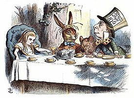 John Tenniel- Alice's mad tea party, colour