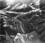 Johns Hopkins and Gilman Glaciers, tidewater glacier with wide lateral moraine and hanging glaciers, September 12, 1980 (GLACIERS 5531).jpg