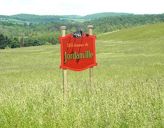 Jordanville, New York - Settlement sign for Jordanville, New York