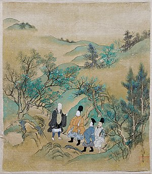 The Tales of Ise - Painting by Sumiyoshi Jokei illustrating episode 9 of the Tales of Ise, British Museum
