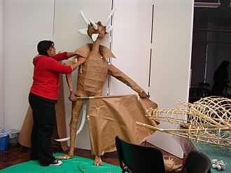 Burning of Judas - Creating a Judas figure in form of a devil at a workshop at the Museo de Arte Popular, Mexico City.