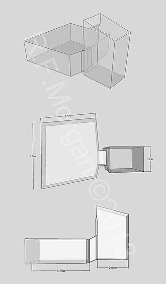 KV36 - Isometric, plan and elevation images of KV36 taken from a 3d model