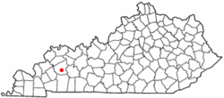 Location of Earlington, Kentucky