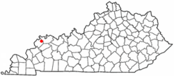Location of Waverly, Kentucky