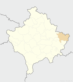 Location of the municipality of Kamenica within Kosovo