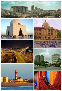 Clockwise frae tap: Karachi Skyline, KPT HQ, PRC Towers & PNSC, Karachi Mercat, Manora Lichthoose, Nagan Interchynge an MA Jinnah Tomb.