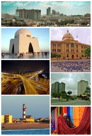 """Clockwise from top:<a href=""""http://search.lycos.com/web/?_z=0&q=%22%3AFile%3AKarachi%20sky%20line.jpg%22"""">Karachi Skyline</a>, <a href=""""http://search.lycos.com/web/?_z=0&q=%22%3AFile%3AKPT%20HQ.jpg%22"""">KPT HQ</a>, <a href=""""http://search.lycos.com/web/?_z=0&q=%22%3AFile%3APRC%20Towers%20and%20PNSC%20Building%20Karachi.jpg%22"""">PRC Towers & PNSC</a>, <a href=""""http://search.lycos.com/web/?_z=0&q=%22%3AFile%3AKarachi%20-%20Pakistan-market.jpg%22"""">Karachi Market</a>, <a href=""""http://search.lycos.com/web/?_z=0&q=%22%3AFile%3AManora%20-%20Tallest%20Lighthouse%20of%20Pakistan%20P11008351.jpg%22"""">Manora Lighthouse</a>, <a href=""""http://search.lycos.com/web/?_z=0&q=%22%3AFile%3ANagan%20Ch%20Karachi.jpg%22"""">Nagan Interchange</a> and <a href=""""http://search.lycos.com/web/?_z=0&q=%22%3AFile%3ATomb%20Jinnah.jpg%22"""">MA Jinnah Tomb</a>."""