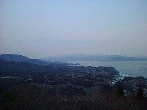 Karakuwa, Miyagi - Northern Karakuwa coastline, with Iwate prefecture in the background, taken from the top of Isaribi Park