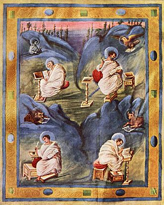 Evangelist portrait - Carolingian miniature portraying the Evangelists with their symbols, from the Aachen Gospels, c. 820