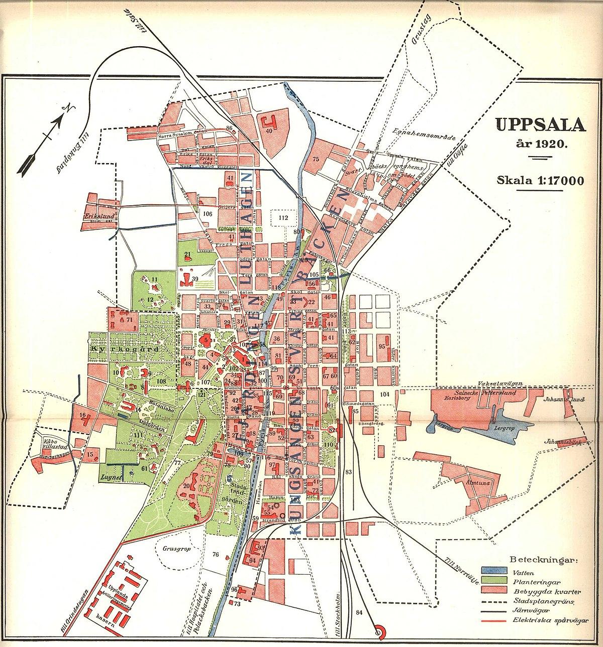 File Karta Over Uppsala 1920 Nordisk Familjebok Jpg Wikimedia