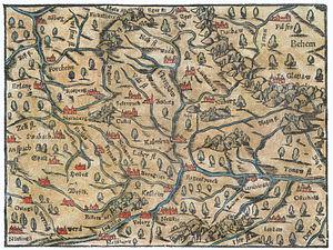 Cosmographia (Sebastian Münster) - Image: Karte vom Nordgau Cosmographia Sebastian Muenster 1628