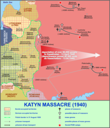Cairt o the sites relatit tae the Katyn massacre