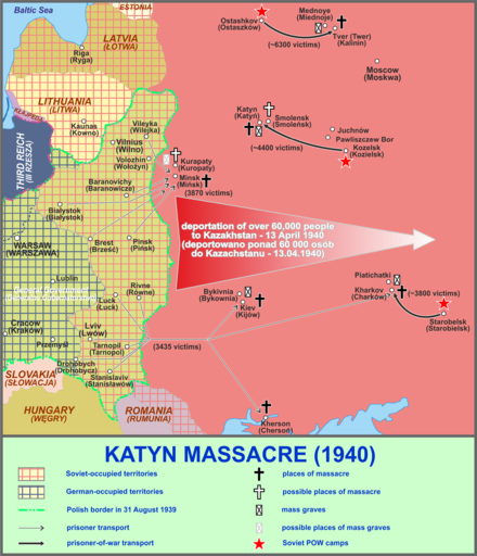 Map of the sites related to the Katyn massacre Katyn a.png