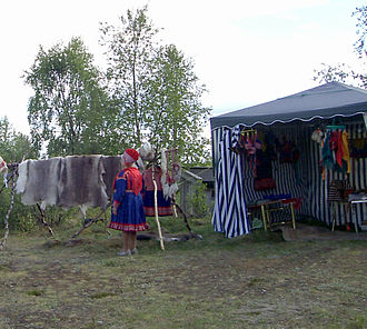 Kautokeino - View of a Sami in traditional dress