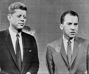 Sideshow Bob Roberts - Quimby's appearance in his debate was based on Richard Nixon's in a debate with John F. Kennedy before the 1960 presidential election.