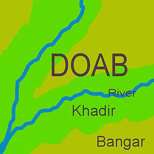Hisar district - In any doab, khadar land (green) lies next to a river, while bangar land (olive) has greater elevation and lies further from the river