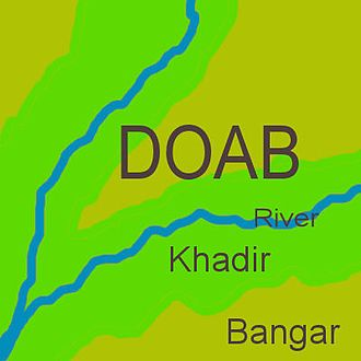 Doab - In any doab, khadir land (green) lies next to a river, while bangar land (olive) has greater elevation and lies further from the river