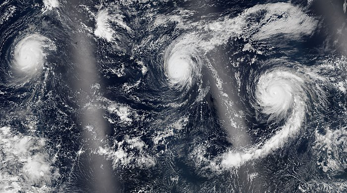 Hurricanes Kilo (left), Ignacio (center), and Jimena (right), all at major hurricane intensity, spanning the Central and Eastern Pacific basins on August 30 Kilo, Ignacio and Jimena 2015-08-30 2100Z.jpg