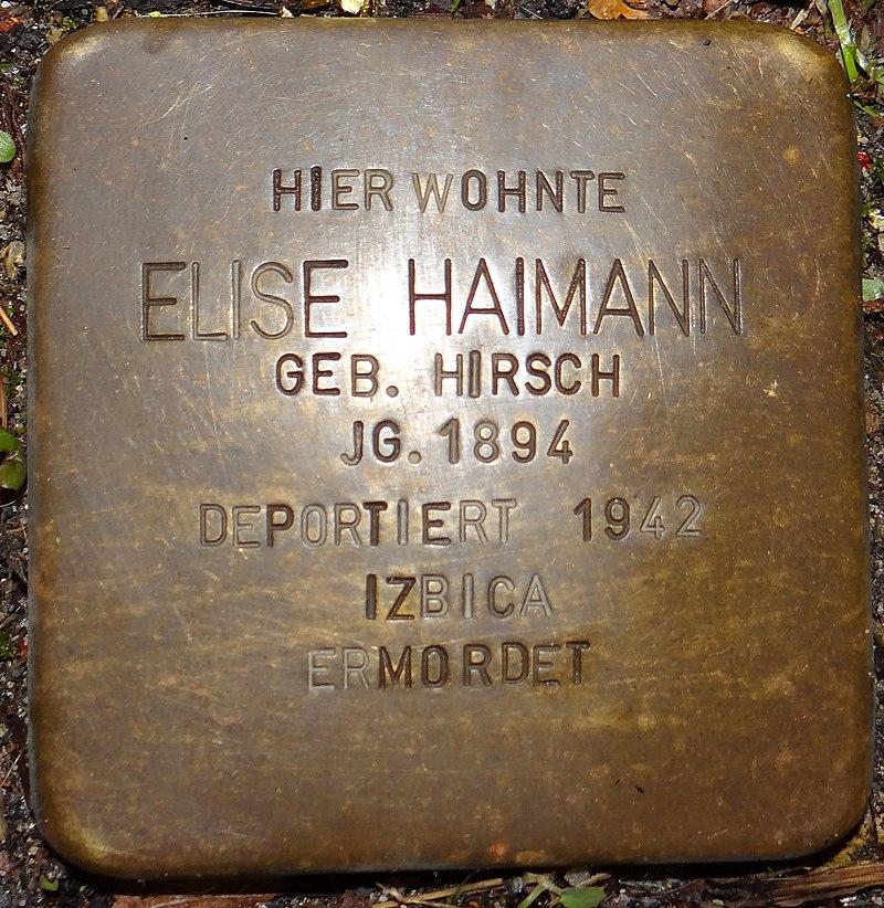 Kirchberg im Hunsrück Stolperstein Kappeler Straße 3 Elise Haimann.jpg