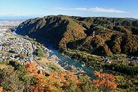 Kiso River from Sarubami Castle 2010-11-23.jpg