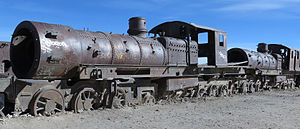 "Meyer locomotive - The derelict remains of two Kitson-Meyer locomotives in the ""Locomotive Graveyard"", Uyuni, Bolivia."
