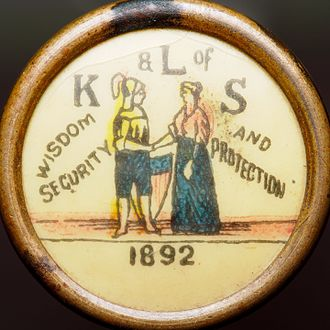 "Benefit society - Pin button issued by ""The Knights and Ladies of Security"" of Topeka, Kansas"