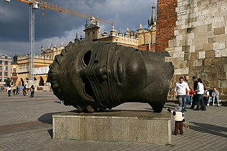 Citygarden - Eros Bendato (1999), by Igor Mitoraj, on exhibition in Kraków, Poland.