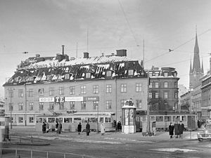 Tysta Mari - Tysta Mari café location in Tegelbacken in 1950 before its demolition