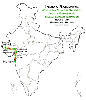 Kutch Express - Image: Kutch Express and Sayaji Nagari Express (Bhuj Mumbai) Route map