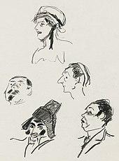 bocetos a lápiz de personajes de ópera cómica, solo cabeza y hombros
