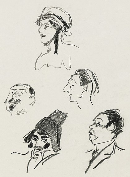 Sketches of the cast for the 1911 premiere of L'heure espagnole by Paul-Charles Delaroche [fr] L'heure-espagnole-1911.jpg