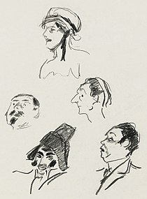 pencil sketches of characters in comic opera, head and shoulders only