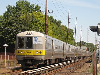 Far Rockaway Branch - Far Rockaway Branch train 2820 departing Cedarhurst Station.
