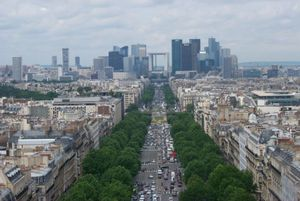 15th G7 summit - The Grande Arche in the distance at the end of the tree-lined Avenue de la Grande Armée in Paris.