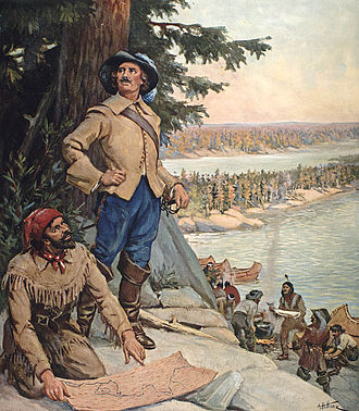 Coureur des bois - A coureur des bois in the painting, La Vérendrye at the Lake of the Woods, circa 1900-1930