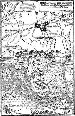 Battle of Aspern-Essling - French (white) and Austrians (black) positions, 21 May 1809
