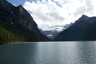 Lake Louise, Alberta - Picture of Lake Louise on a partly cloudy day in July, 2010.