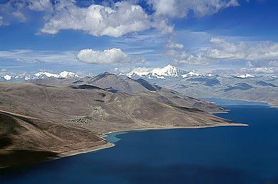 Yamdrok Lake is one of the three largest sacred lakes in Tibet. Lake Yamdroktso.jpg