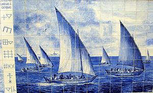 Culture of Póvoa de Varzim - Portuguese azulejo with Povoan boats and siglas poveiras marks.