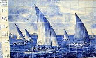 Culture of Póvoa de Varzim - Portuguese azulejo with Povoan boats and siglas poveiras marks.